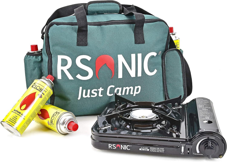 Hornillo de gas para camping RS-3500 Turbo 2,75 kW + funda de ...