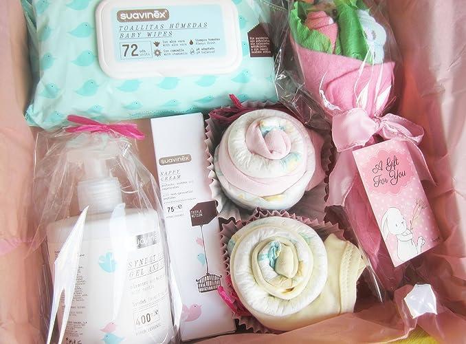 Canastilla para Bebés con Productos SUAVINEX, Body, Pañales y Baberos de marca | Disponible en 4 tamaños (S, M, L y para Gemel@s) | Para Niñas, ...