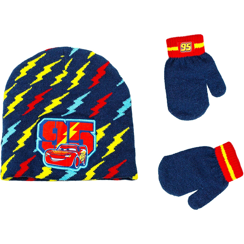 dfa30692adec9 Amazon.com  Disney Cars 3 Boys Knit Hat and Mitten Set Toddler 2T-5T Warm Beanie  Kids McQueen  Clothing