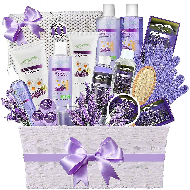 Premium Deluxe Bath & Body Gift Basket. Ultimate Large Spa Basket! #1 Spa Gift Basket for Women- Deluxe Aromatherapy Lavender Spa Kit + Luxury Bath Pillow!
