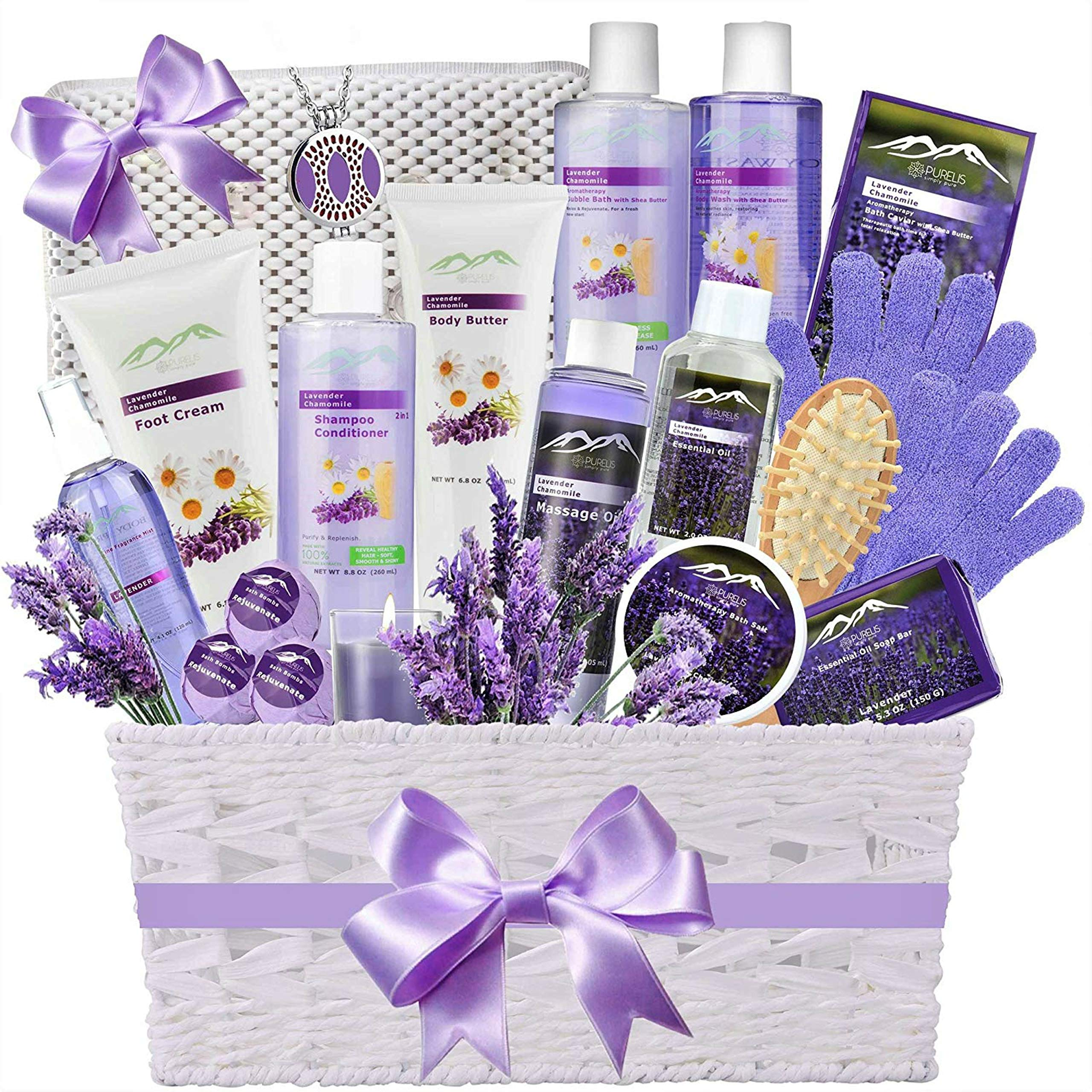 Premium Deluxe Bath & Body Gift Basket. Ultimate Large Spa Basket! #1 Spa Gift Basket for Women- Deluxe Aromatherapy Lavender Spa Kit + Luxury Bath Pillow! by Purelis
