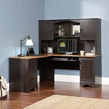 Sauder Office Furniture Harbor View L Desk With Hutch And Reversible  Storage, Cherry/