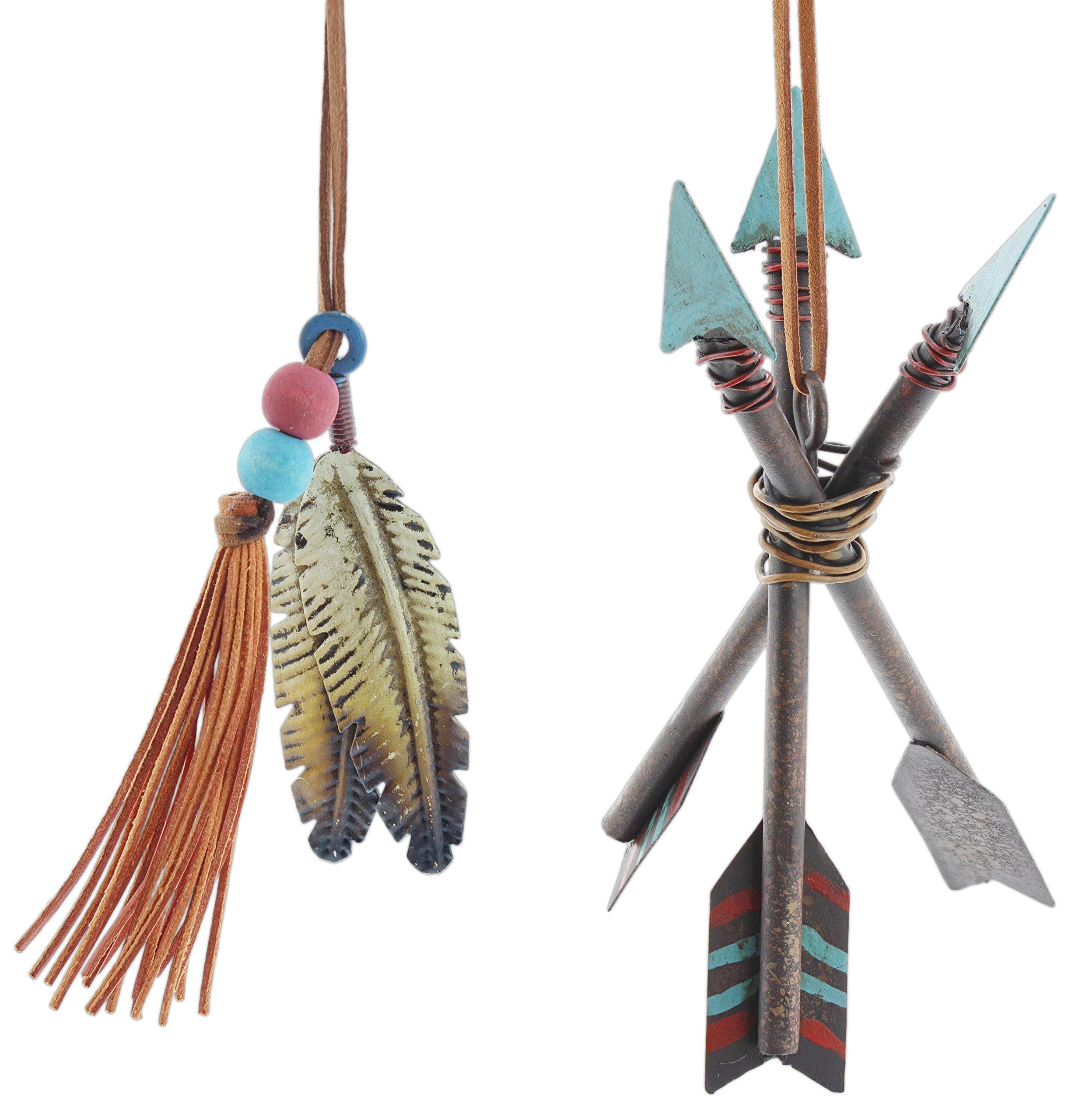 Set of 2 Assorted Burton & Burton Southwestern Style Metal Teepee Arrow & Feather Ornaments by Burton & Burton (Image #1)