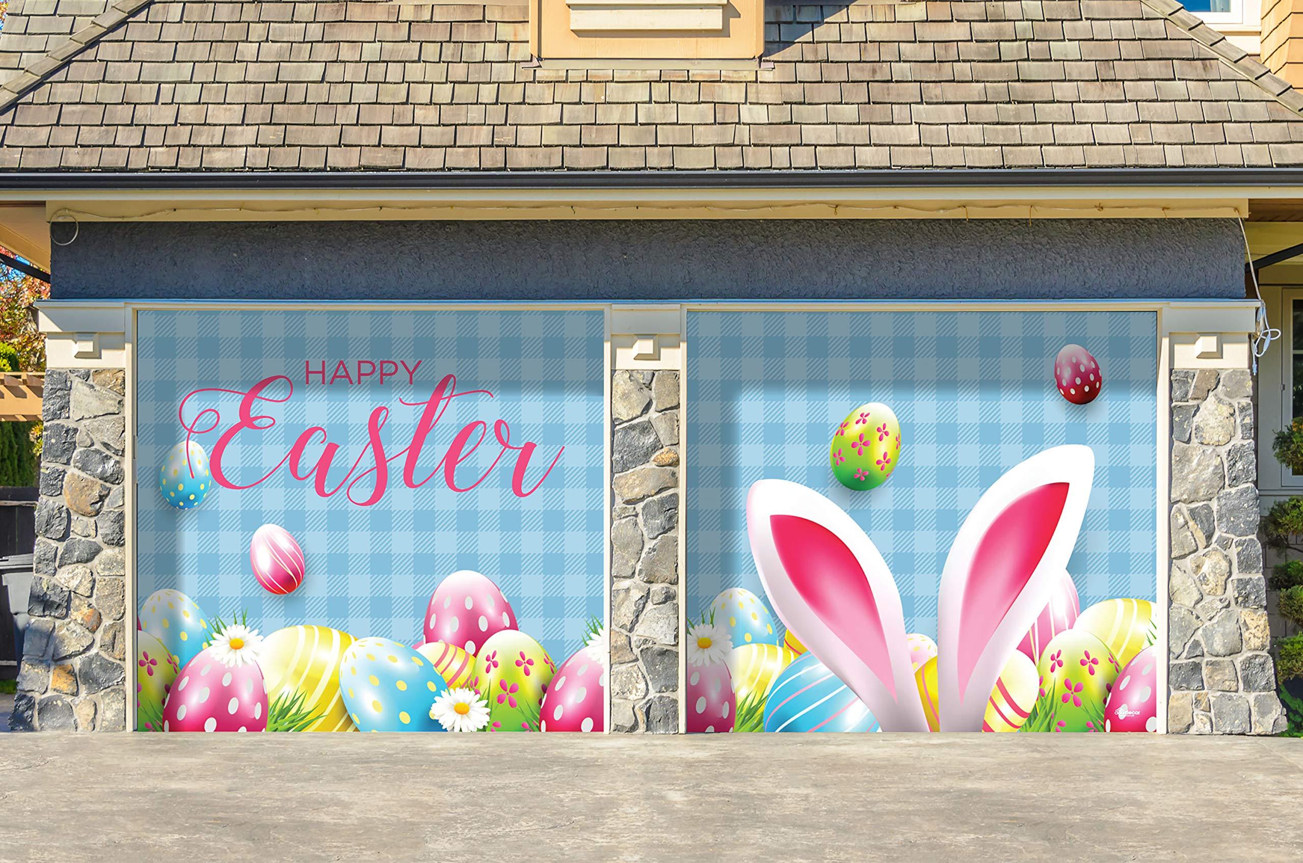 Victory Corps Happy Easter Bunny Ears - Holiday Garage Door Banner Mural Sign Décor 7'x 8' Split Car Garage - The Original Holiday Garage Door Banner Decor