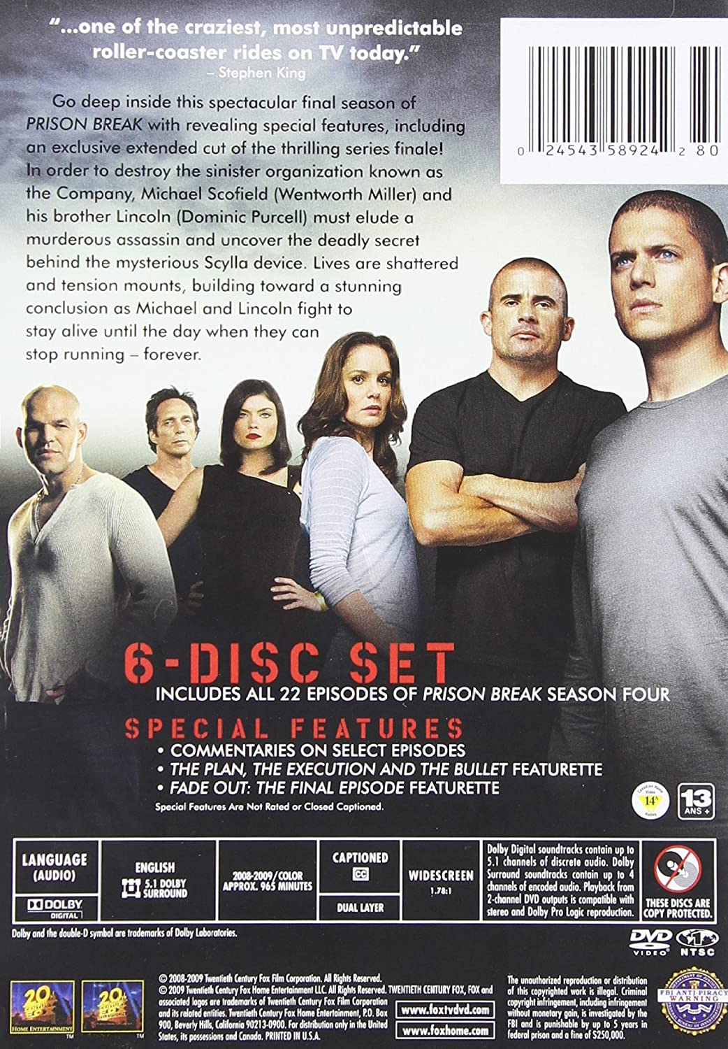 Amazon Com Prison Break Season 4 Dominic Purcell Wentworth Miller Amaury Nolasco Robert Knepper Sarah Wayne Callies Wade Williams William Fichtner Paul Adelstein Marshall Allman Rockmond Dunbar Jodi Lyn O Keefe Leon Russom Bobby