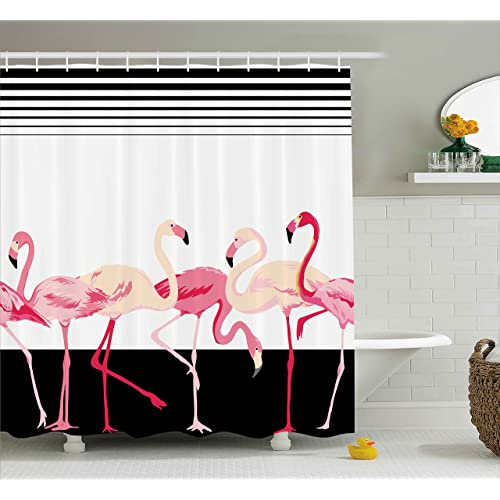 Ambesonne Retro Decor Shower Curtain By Pink Flamingo Birds Background With Stripes Love Romance Icons