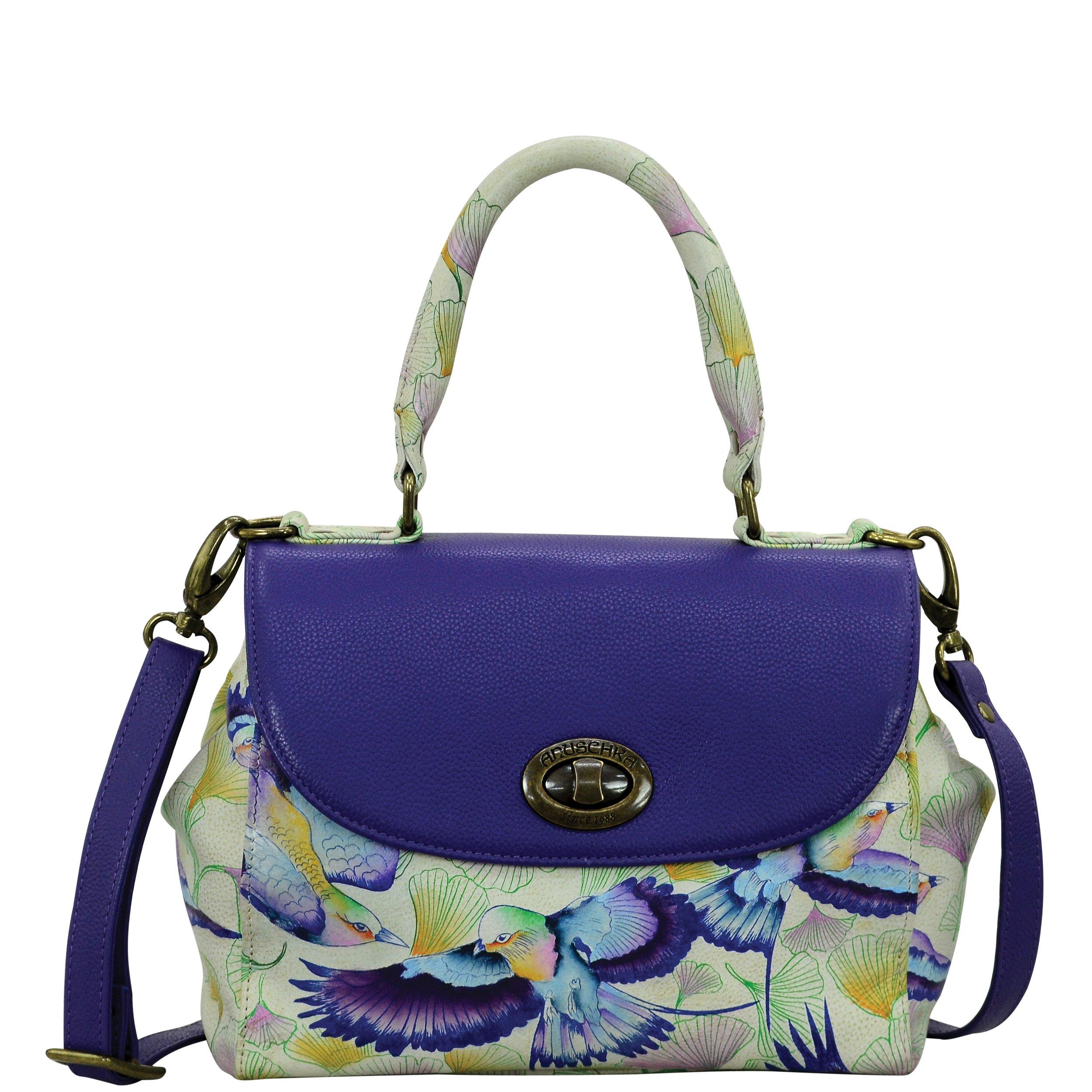 Anuschka Hand Painted Designer Leather Handbags for Women- Medium Flap Satchel ( Wings of Hope 624 WHP ))