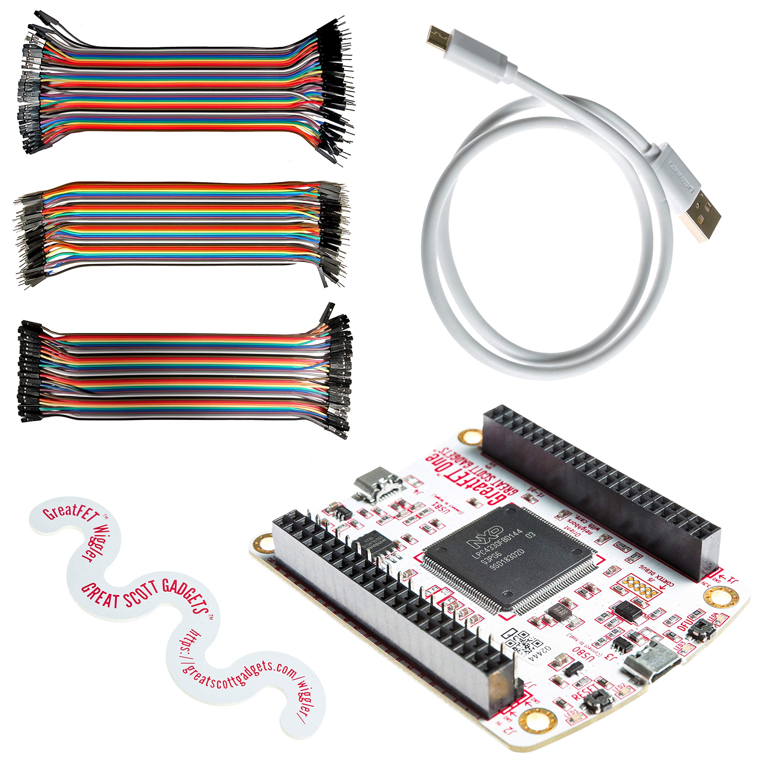 NooElec Great Scott Gadgets GreatFET One Bundle - Hi-Speed USB Peripheral, Logic Analyzer, Debugger and Development Board. Open Hardware. Includes GreatFET One, Wiggler, Cable & 120 Prototyping Wires by NooElec