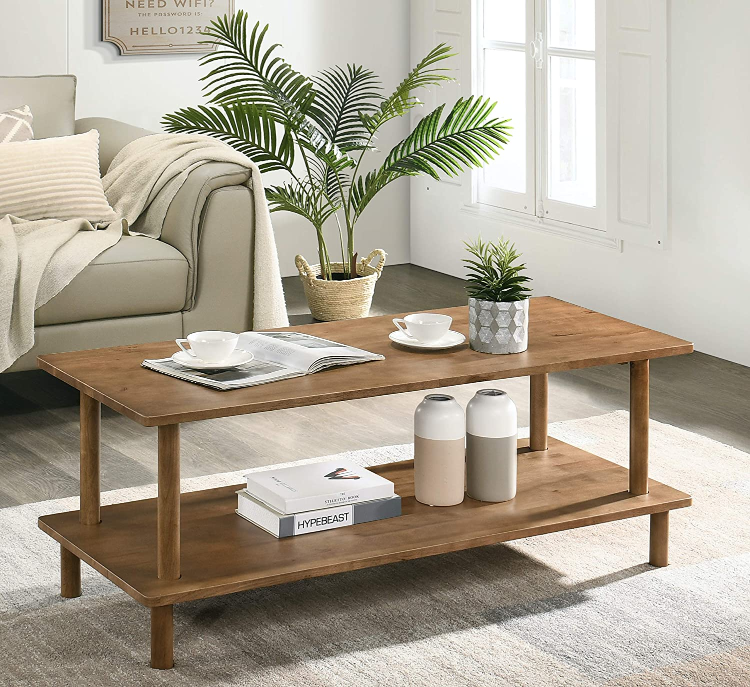 Amazon Com Furnitela Wood Coffee Tables For Living Room Rustic Farmhouse Coffee Table 47 Inch Kitchen Dining
