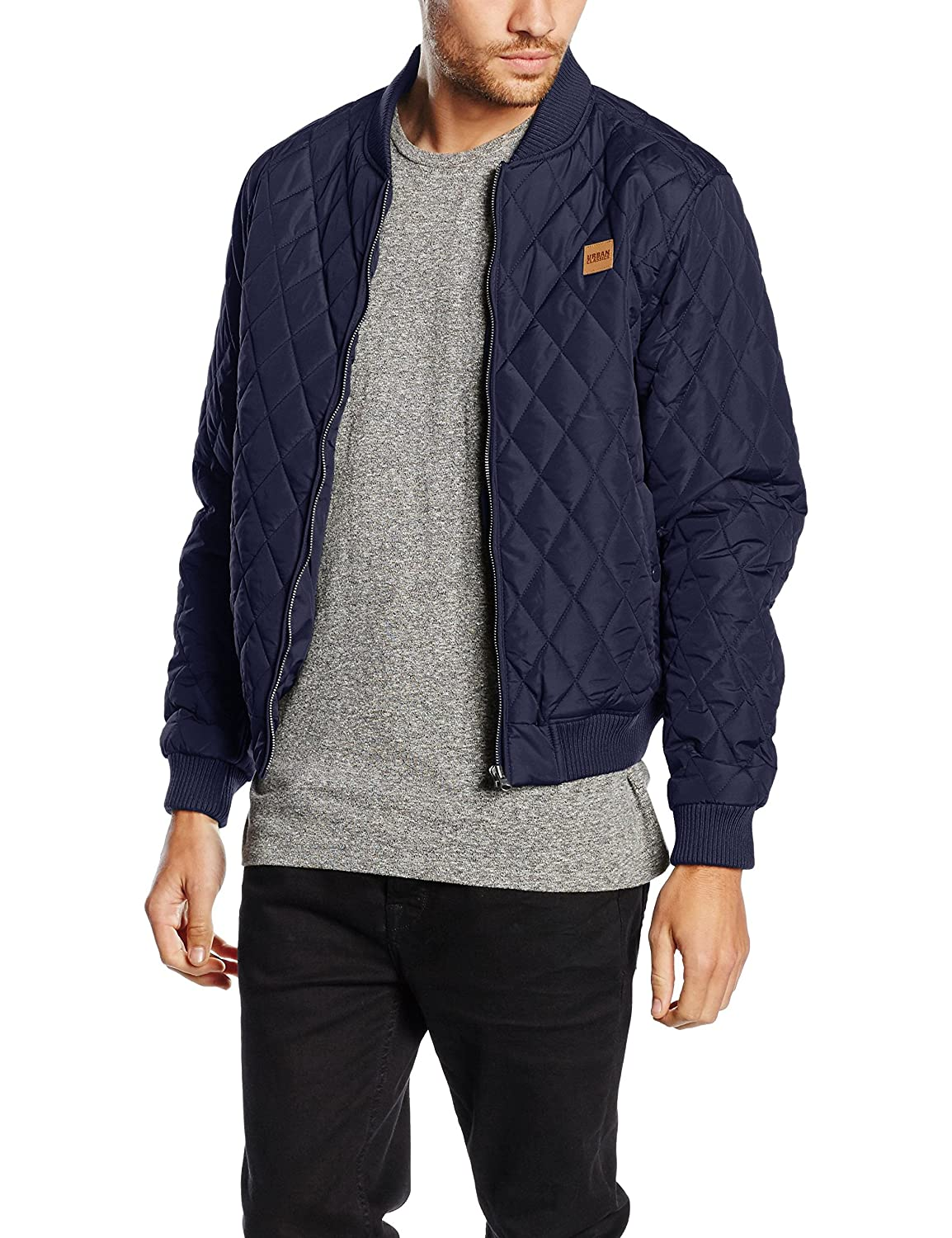 95594c75aab Fashionable quilted jacket by URBAN CLASSICS in bomber jacket style.  Lightweight nylon jacket with a diamond quilt look   quilted jacket