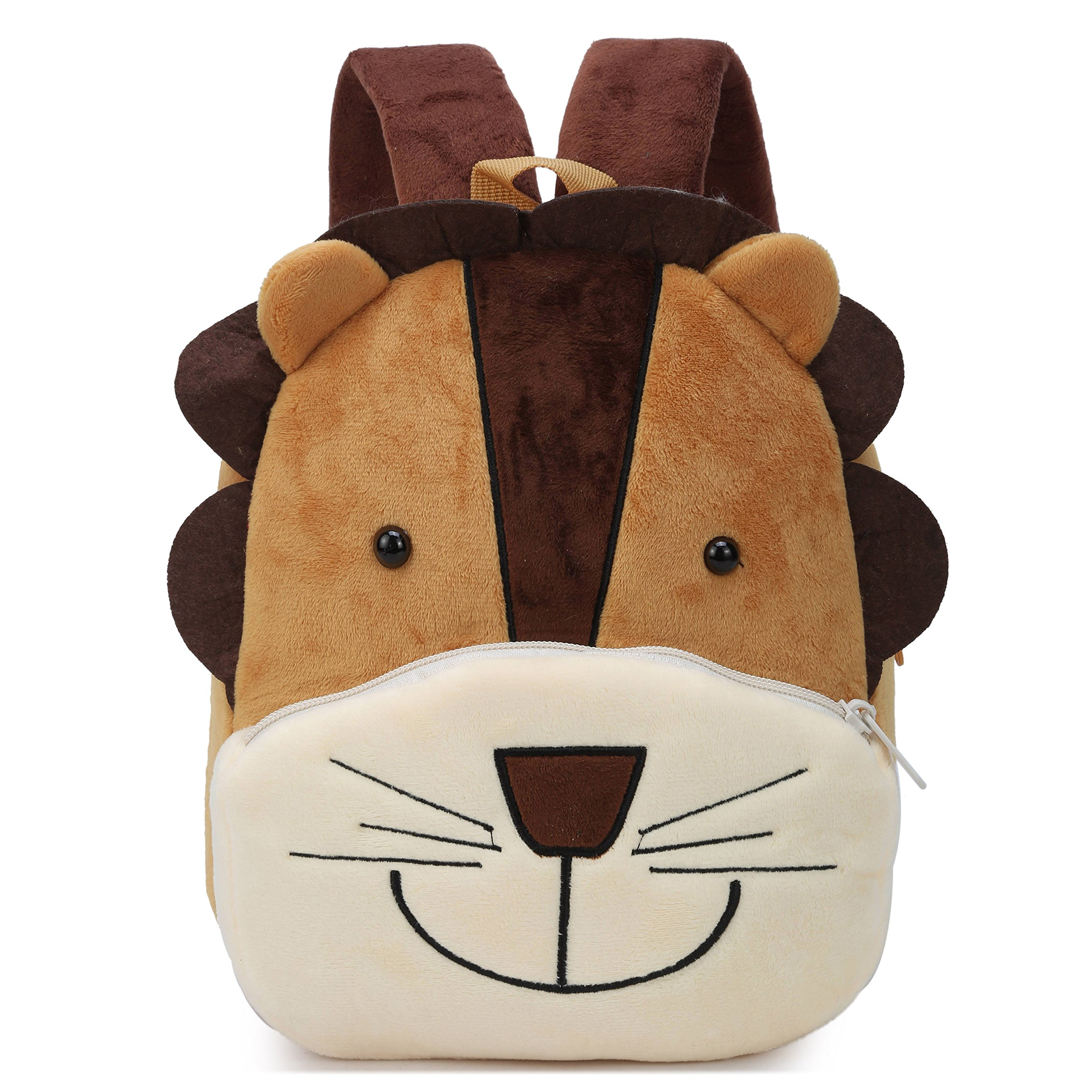 Cute Small Toddler Backpack for Girl Boy Kids Plush 3D Animal Cartoon Mini Preschool Bag for Children Age 1-5 Years Old (Brown Lion)