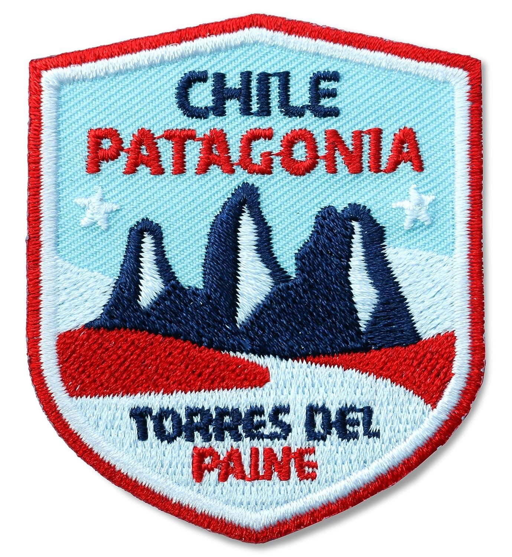 2 x Stick Abzeichen 51 x 60 mm / Chile Patagonien Torres del Paine / Applikation Aufnä her Aufbü gler Bü gelbild Patch / fü r Kleidung Rucksack / Bergsteigen Klettern Tourenkarte Reisefü hrer Landkarte Kompass Club-of-Heroes.de