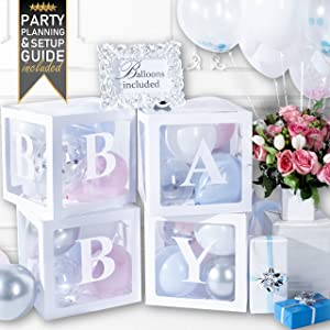 PRIMEPURE Premium Pearl White Baby Boxes - For Gender Reveal, Gender Reveal Party Supplies, Gender Reveal Decorations, Baby Shower, Baby Shower Decorations For Girl and Baby Shower Decorations For Boy