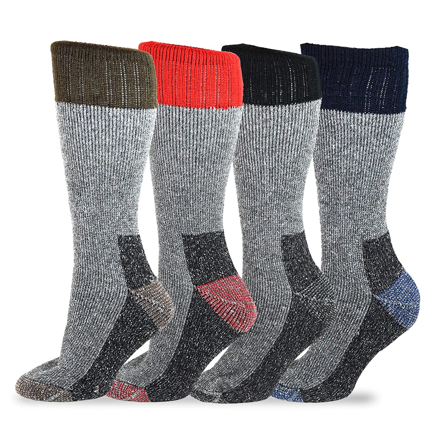 TeeHee Heavyweight Outdoor Wool Thermal Boot Socks 4-Pack Assorted) Soxnet Inc S/51078-4W07 10-13