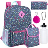 Girl's 6 in 1 Backpack Set With Lunch Bag, Pencil Case, Keychain, and Accessories