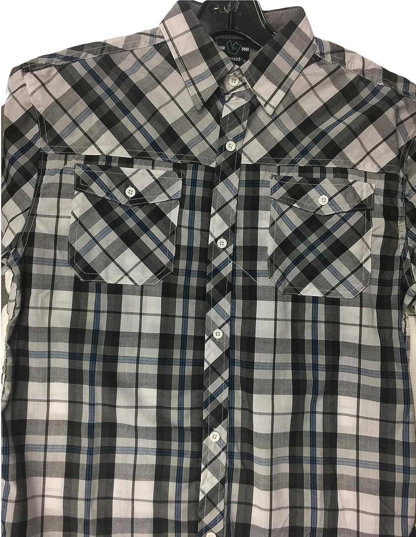 14-16 Large White Burnside Short Sleeve Plaid Button Down Shirt