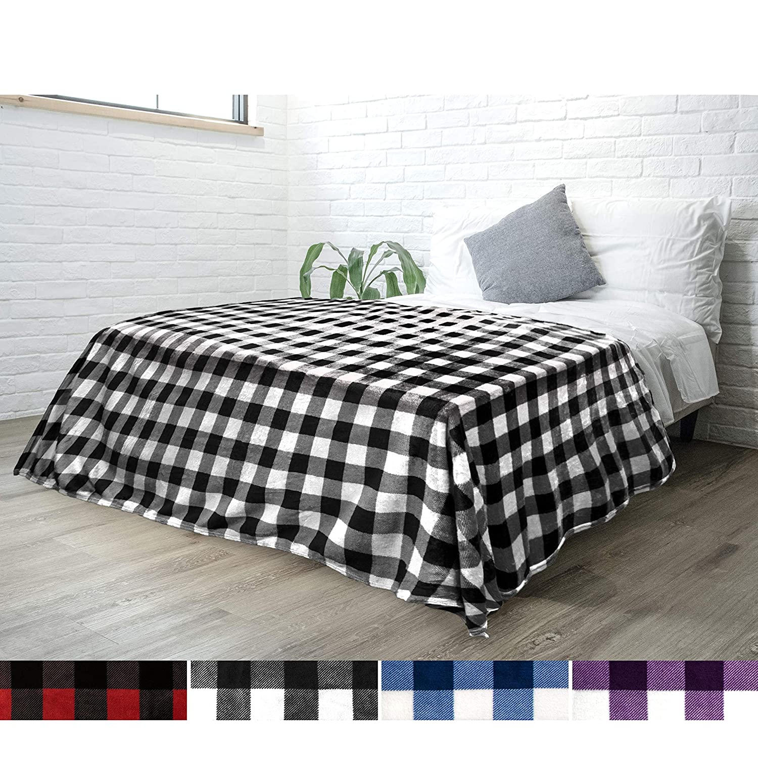 PAVILIA Flannel Fleece Throw Blanket for Sofa Couch Bed | Super Soft Velvet Plaid Pattern Checkered Decorative Throw | Warm Cozy Lightweight Microfiber | 60 x 80 Inches Plaid White/Black