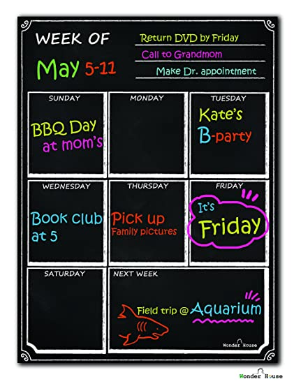 amazon com dry erase calendar magnetic chalkboard design flexible