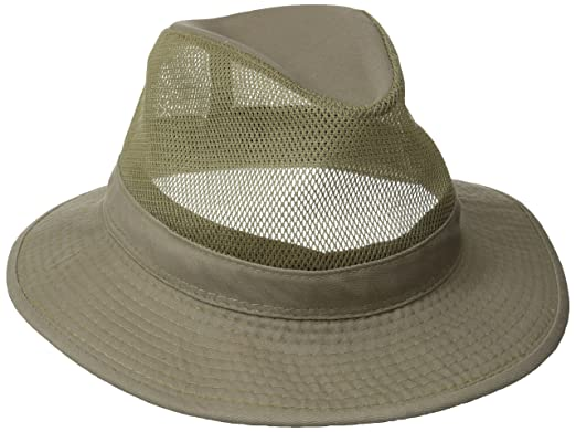 41db83ee55239 Dorfman Pacific Men s Garment Washed Twill Safari Hat With Mesh Sides