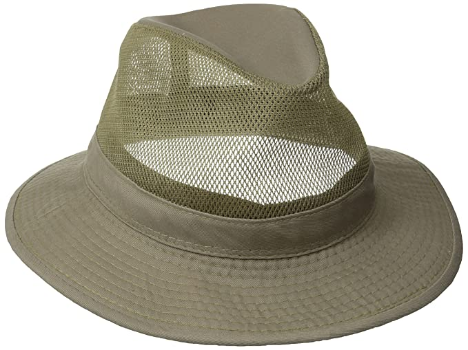Dorfman Pacific Men's Garment Washed Twill Safari Hat With Mesh Sides, Khaki, Medium