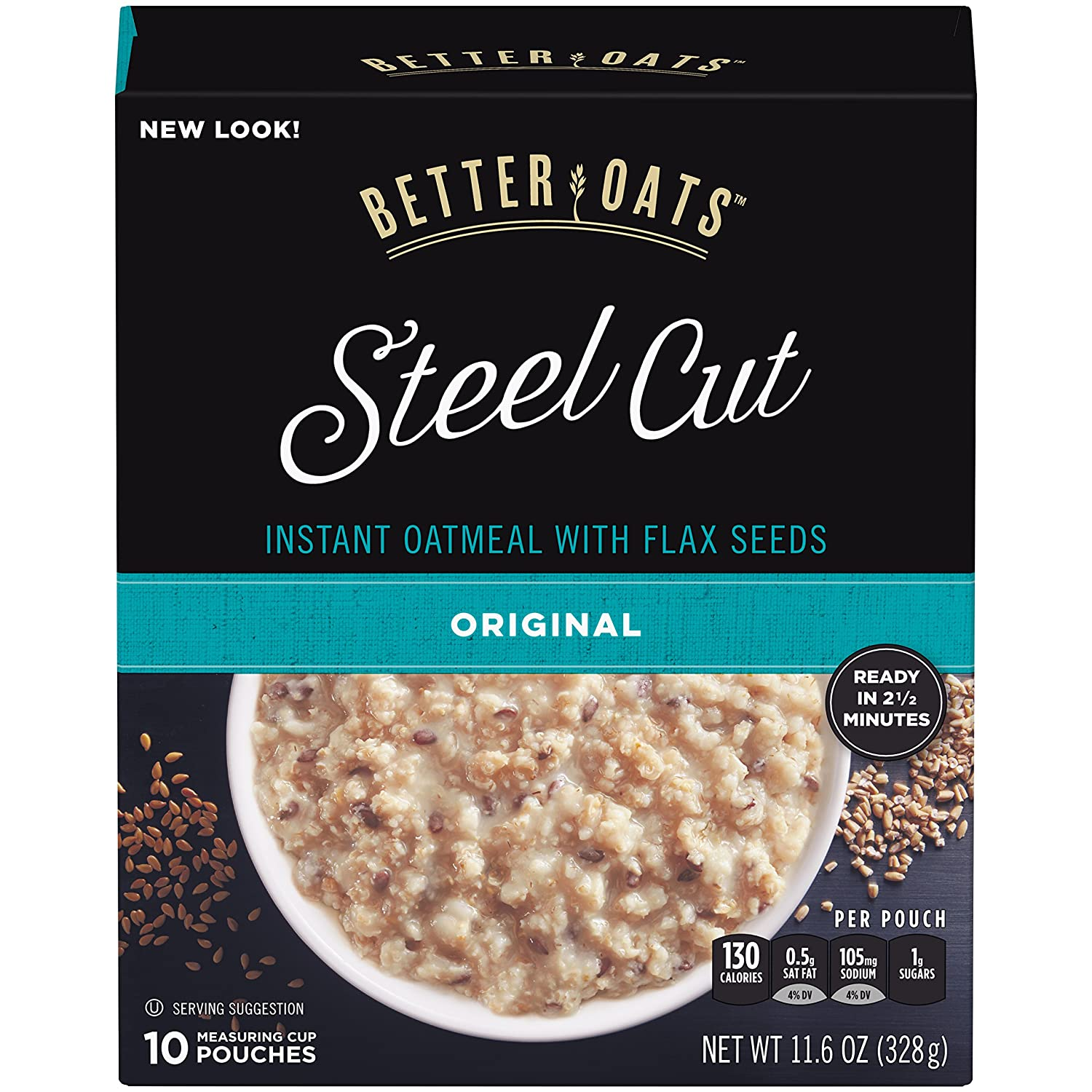 Better Oats Steel Cut Instant Oatmeal with Flax Seeds, Original, 11.6 Ounce (Pack of 6)
