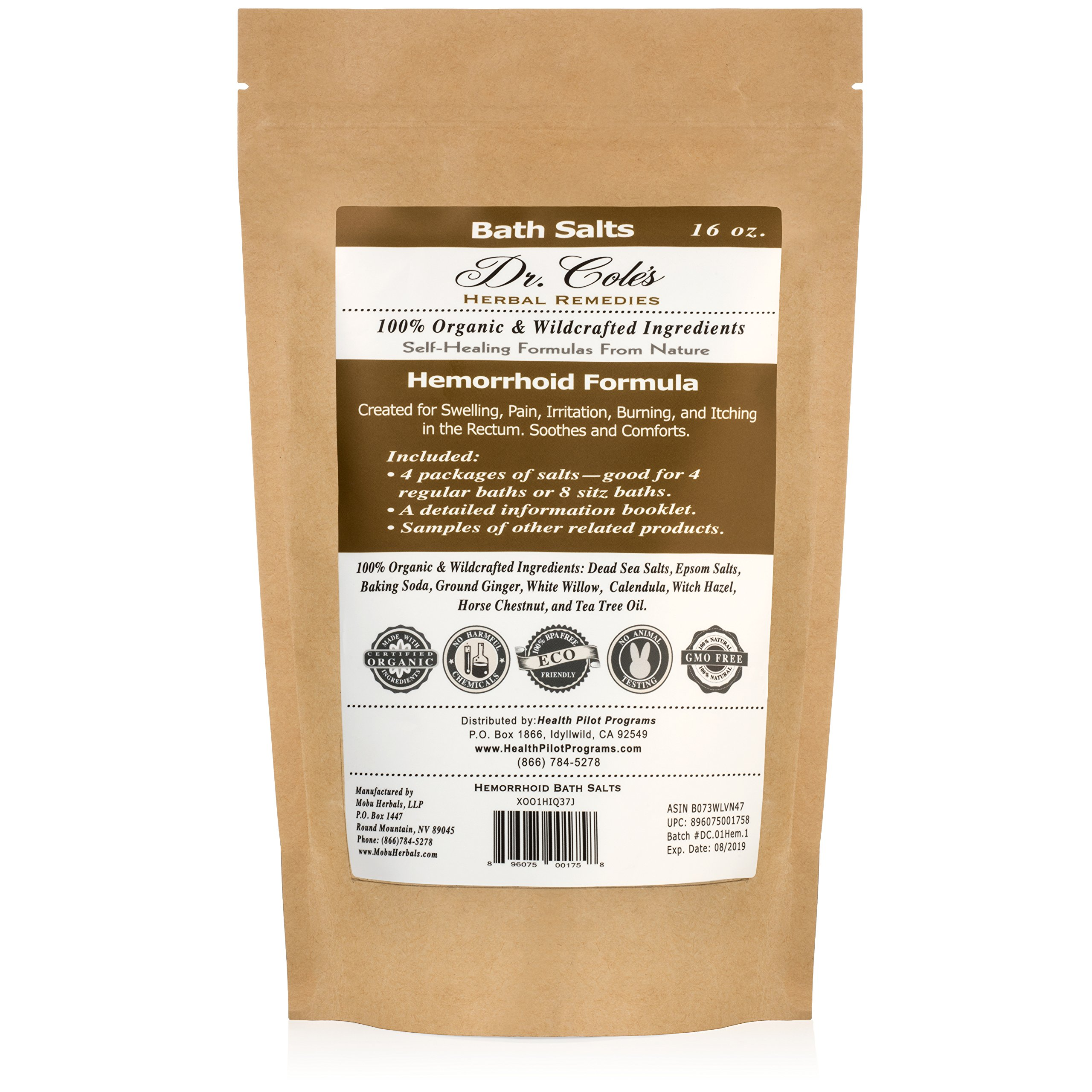 Dr. Cole's Hemorrhoid Sitz Bath Treatment: Organic, Herbal Bath Salts That Soothe Itching, Swelling And Pain Related to Hemorrhoids. Safe For All Ages. For Use In Small Sitz Bath Basin Or Bath Tub. by Dr. Cole's Herbal Remedies