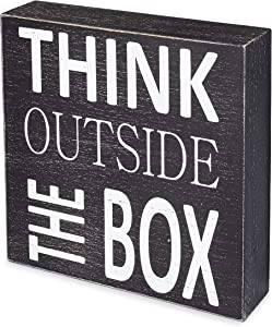 ILINKA Wood Box Sign,Inspirational Box Sign for Home Decor, Wood Box Sign with Quotes, 6 x 6 x 1.5 inches, Think Outside The Box