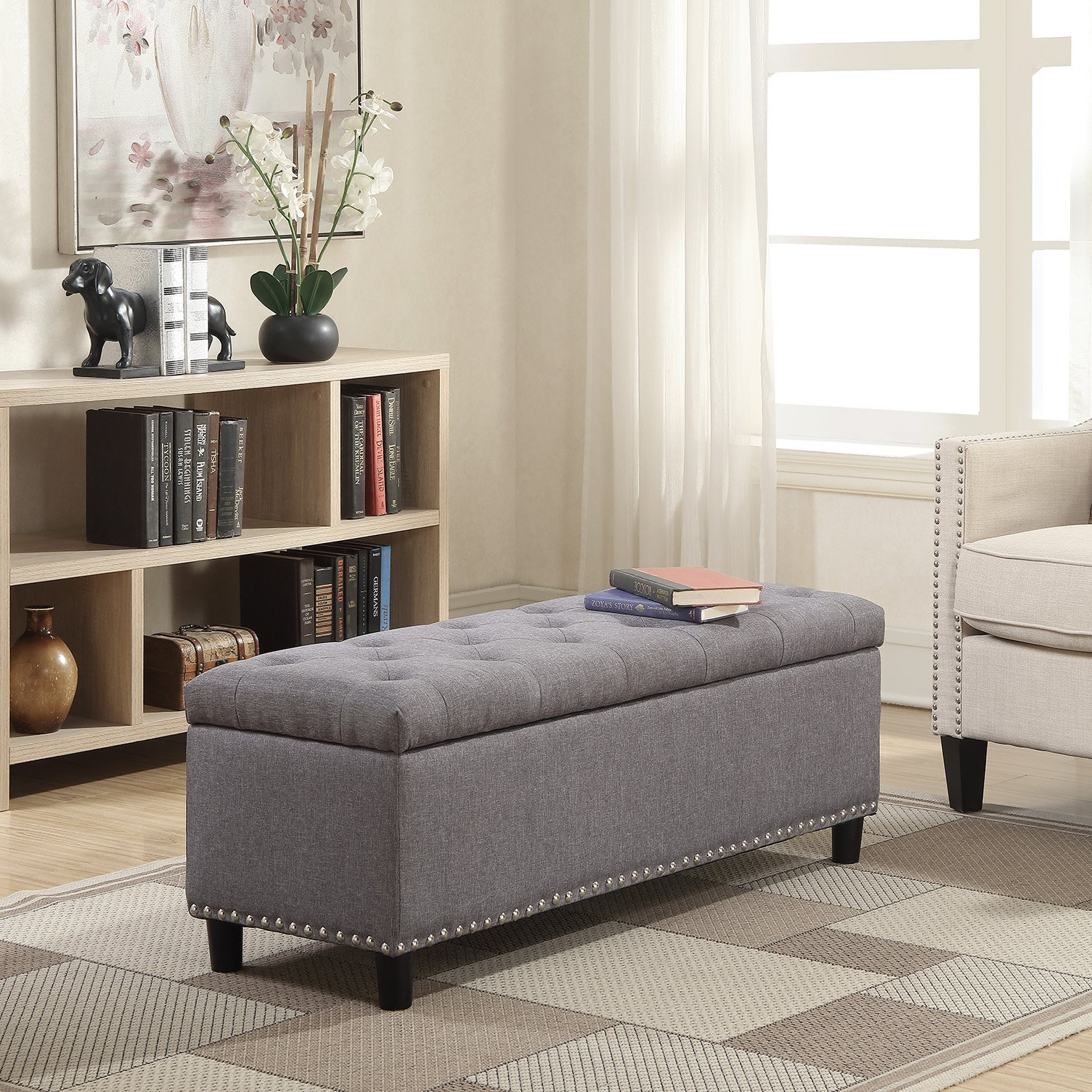 Belleze 48'' Rectangular Gray Storage Fabric Ottoman Bench Tufted Footrest Lift Top by Belleze