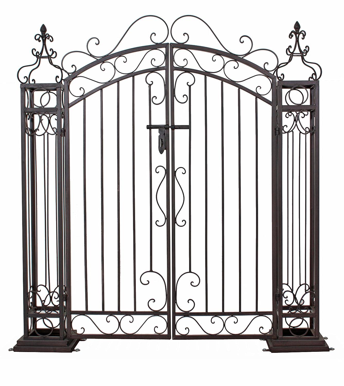 Jardinion portail de métal, façon rouille , acier, entrée, porte, barrière, jardin, maison Anthracite ST