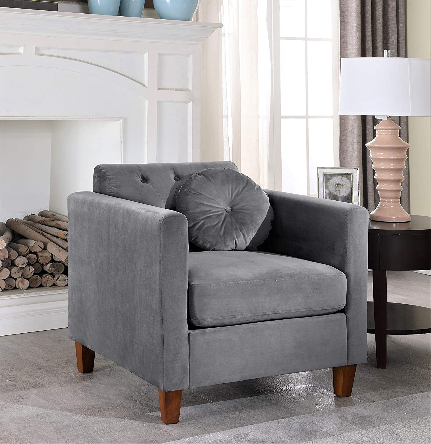 Beige Loveseat and Chair Set Container Furniture Direct Kitts Classic Chesterfield Upholstered Sofa