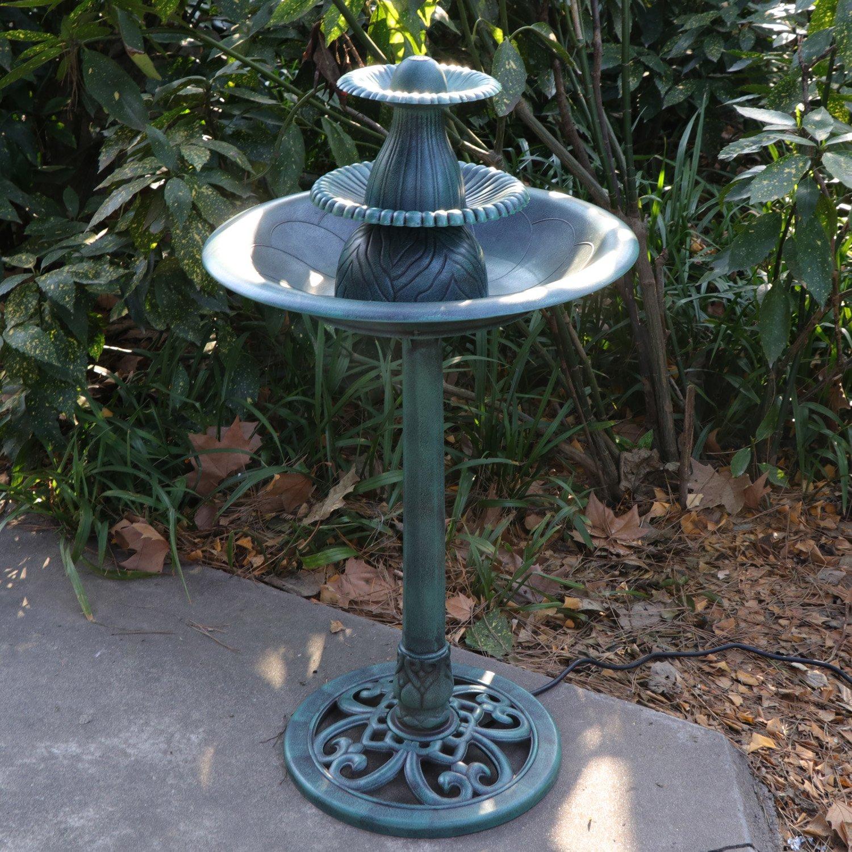 HomGarden Outdoor Antique Pedestal Bird Bath Garden Decor Floral Leaf Vintage 3-Tier Fountain w/Pump, 36 Inch Tall