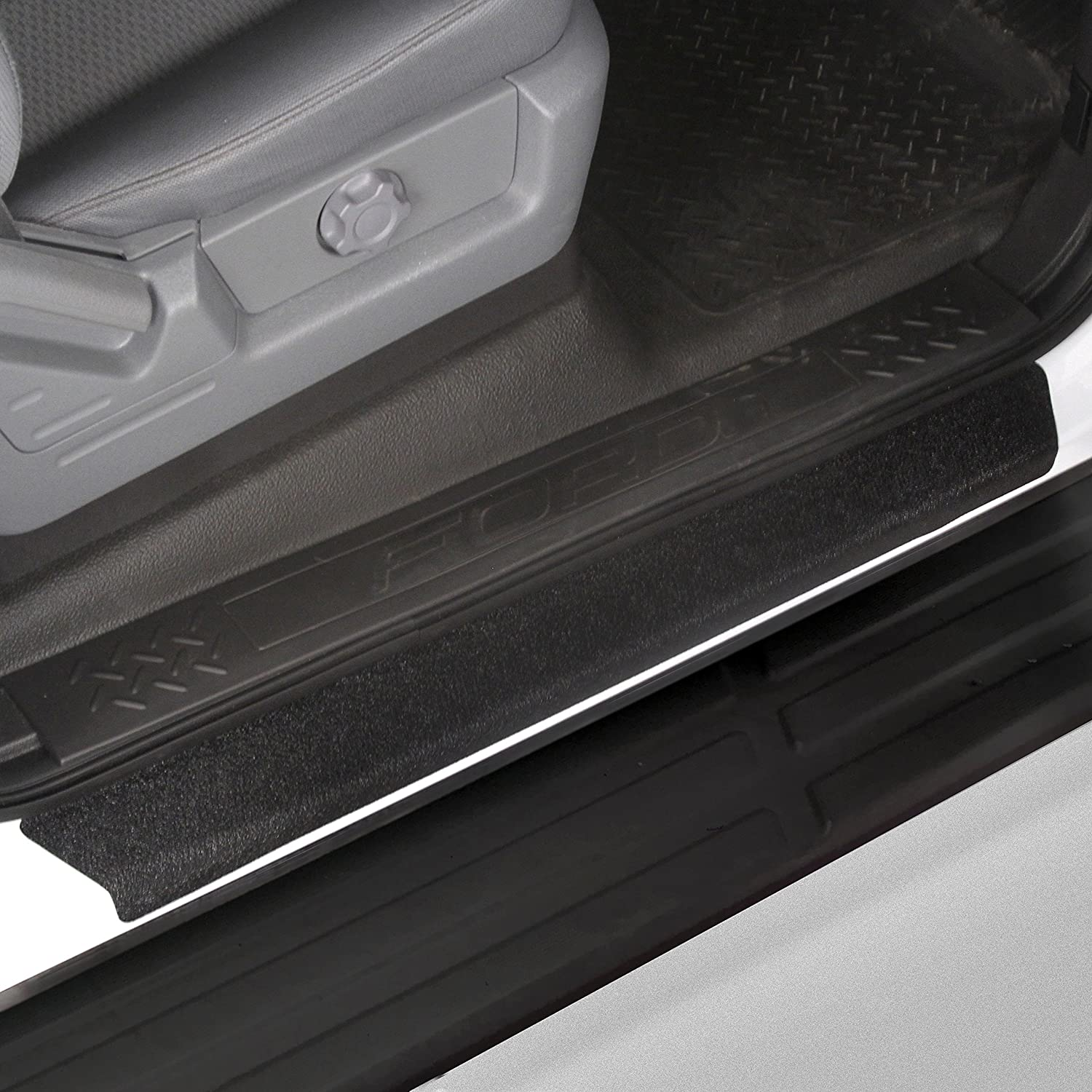 Custom Fit 2009-2014 Compatible with Ford F-150 Crew Cab SuperCrew Door Step Sill Scuff Plate Protectors Shield 4 Dr 4pc Kit 2010 2011 2012 2013 Paint Guard Paint Protection Red Hound Auto