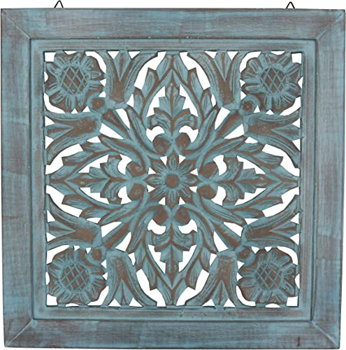 DharmaObjects Handcrafted Lotus Wood Wall Panel Decor Hanging Art 16 X 16 Turquoise
