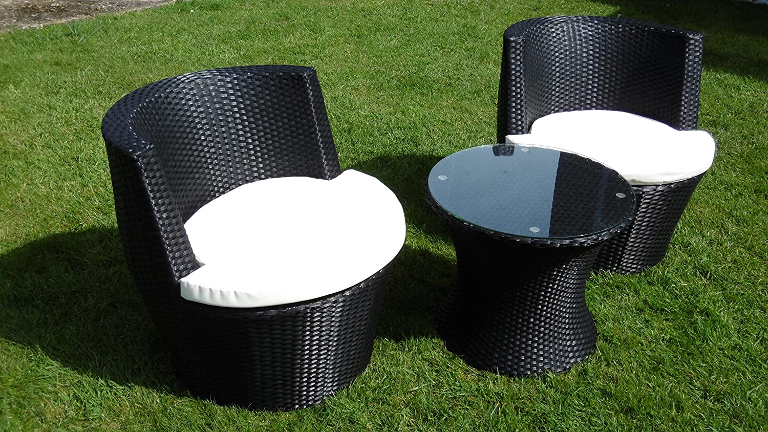 Black Rattan Stacking Garden Furniture 3 Piece Vase Set Patio Outdoor Coffee Table 2 Chairs Amazoncouk Outdoors