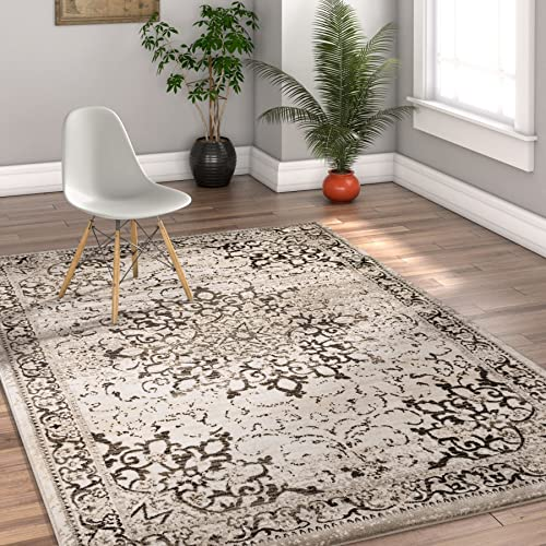 Well Woven Coverly Grey Beige Vintage Medallion Traditional Persian Oriental 8×10 7 10 x 9 10 Area Rug Neutral Modern Shabby Chic Thick Soft Plush Shed Free