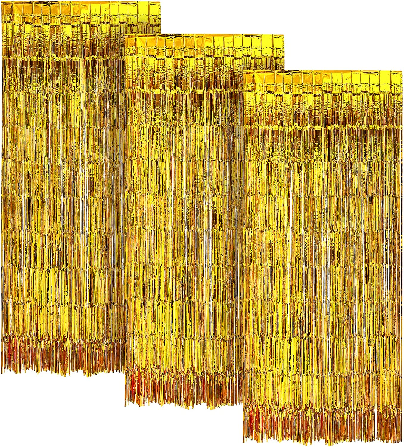 Gold FOIL Fringe Curtain | Metallic Shimmering Tinsel Decoration | Great for Party Décor, Photo Backdrops and More | Easy Installation | 3' x 8' | 3 pc
