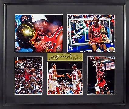 "54af5aa98 Chicago Bulls Michael Jordan ""6x NBA Champion"" Photo Collage Display (SGA  Signature Engraved"