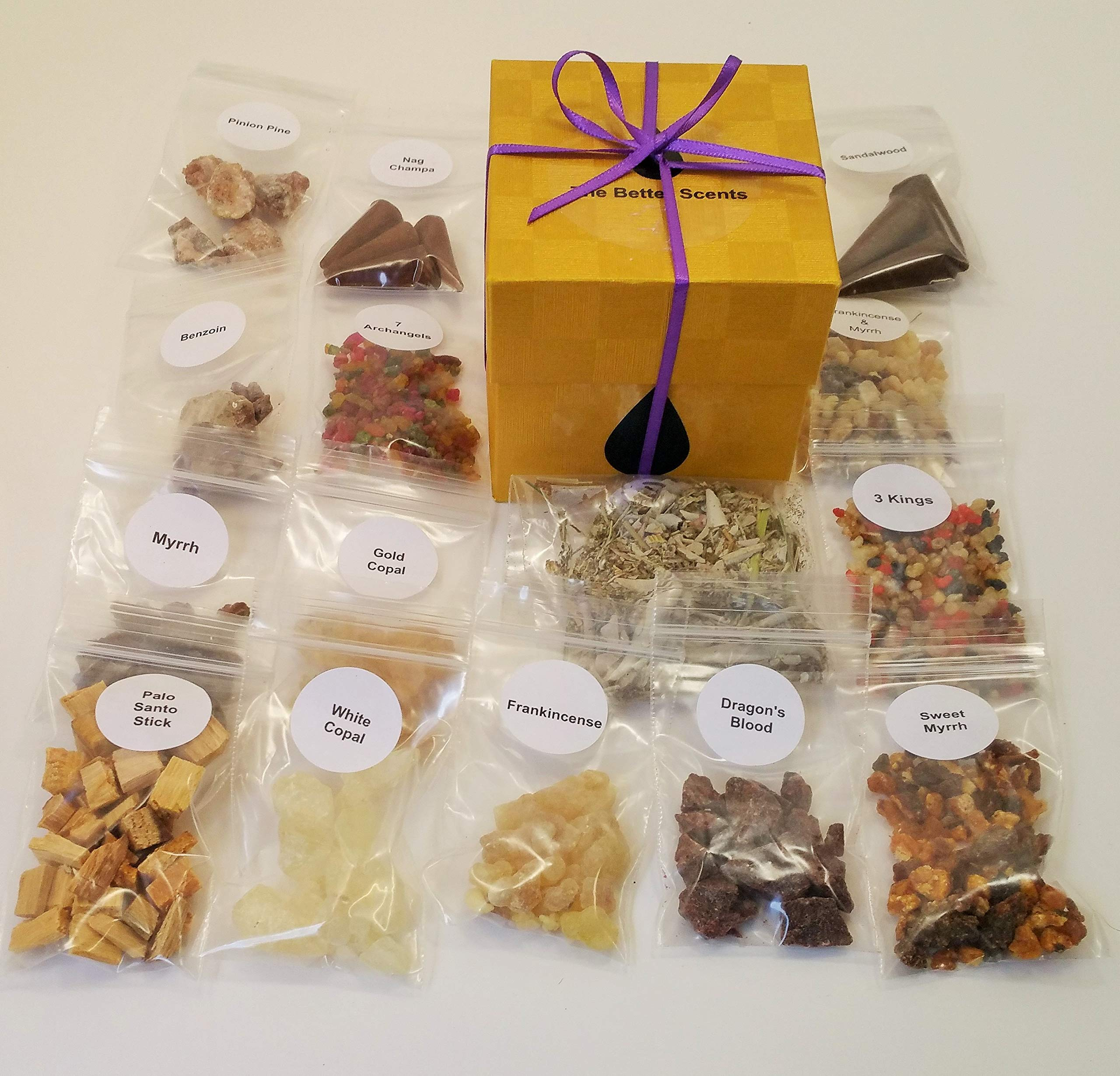 Resin Incense Variety Sampler Set- 16 Different scents 1/4 oz Samplers of resins- Herbs - Wood - Quality Made Cones. Beautifully Gift Boxed. All Natural Ingredients. The Best selections no fillers by The Better Scents (Image #2)