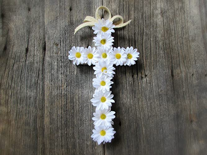 Daisy Cross Wreath For Front Door  Floral Wood Cross Wall Decor  Decoration  For Home