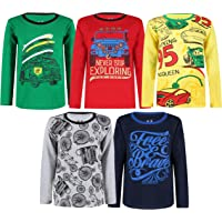 Elk Boys Kids Cotton Printed Full Sleeves T-Shirts Pack of 5 Green Yellow Grey Blue Red