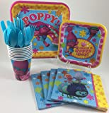 BashBox Trolls Birthday Party Supplies Pack Including Cake & Lunch Plates, Cutlery, Cups & Napkins for 8 Guests