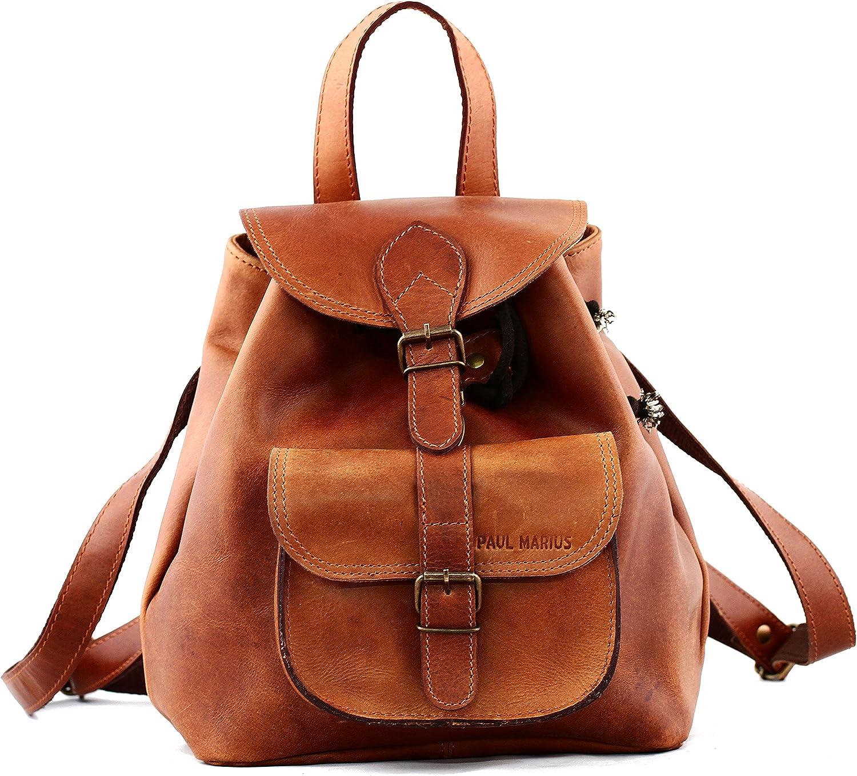 PAUL MARIUS estilo de cuero mochila de la vendimia LE BAROUDEUR