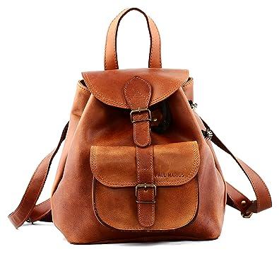20ccfa4ff9 PAUL MARIUS petit sac à dos en cuir couleur Naturel style vintage LE  BAROUDEUR, Marron