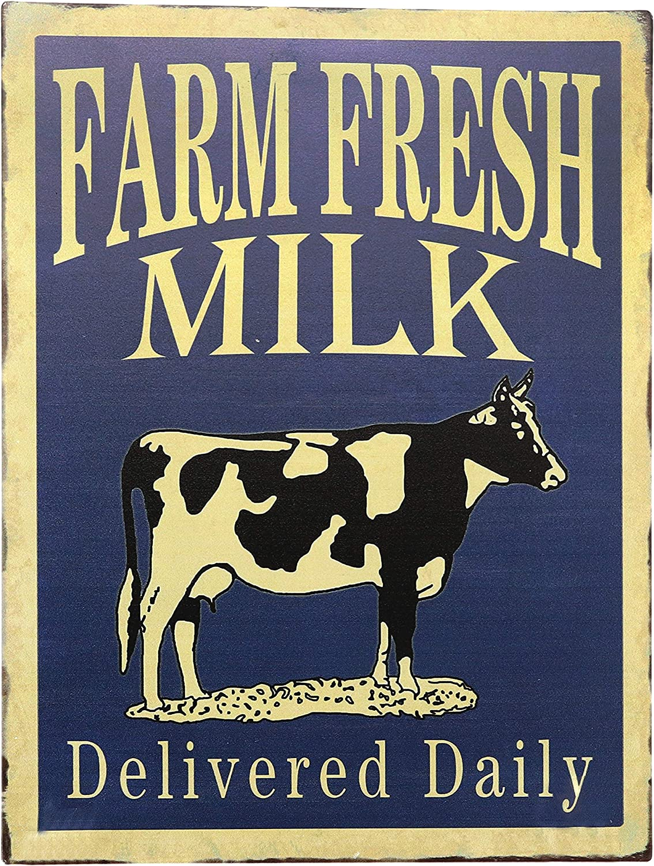 "Barnyard Designs Farm Fresh Milk Delivered Daily Retro Vintage Tin Bar Sign Country Home Decor 10"" x 13"""
