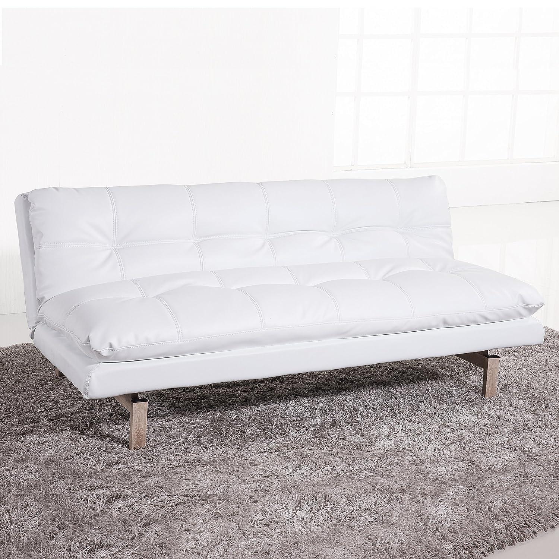 Adec - Sofa cama modelo Due, apertura tipo libro, tapizado símil piel color Blanco, medidas: 180x96-110 cm de fondo