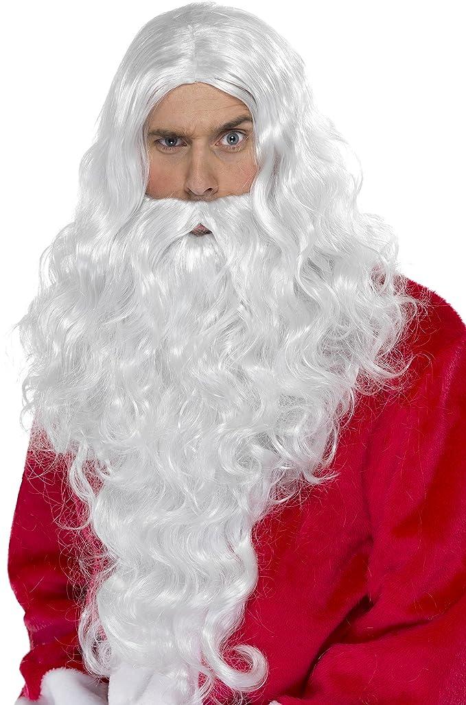 Smiffys - Perruque Longue Santa Blanche Avec Barbe