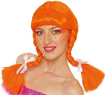 Guirca Peluca Trenzas en Caja, Color Naranja, Talla única (4212.0)