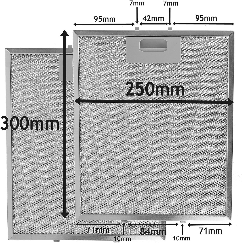 Pack de 2 filtros, Plata, 300 x 250 mm SPARES2GO Campana Extractora Campana de metal Red Filtro Antigrasso para cocina Extractor Fan Vent