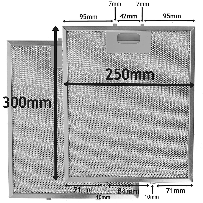 spares2go Metall Mesh Filter für Ariston und Creda Dunstabzugshaube/Küche Abluftventilator (2Stück Filter, silber, 300x 250mm)