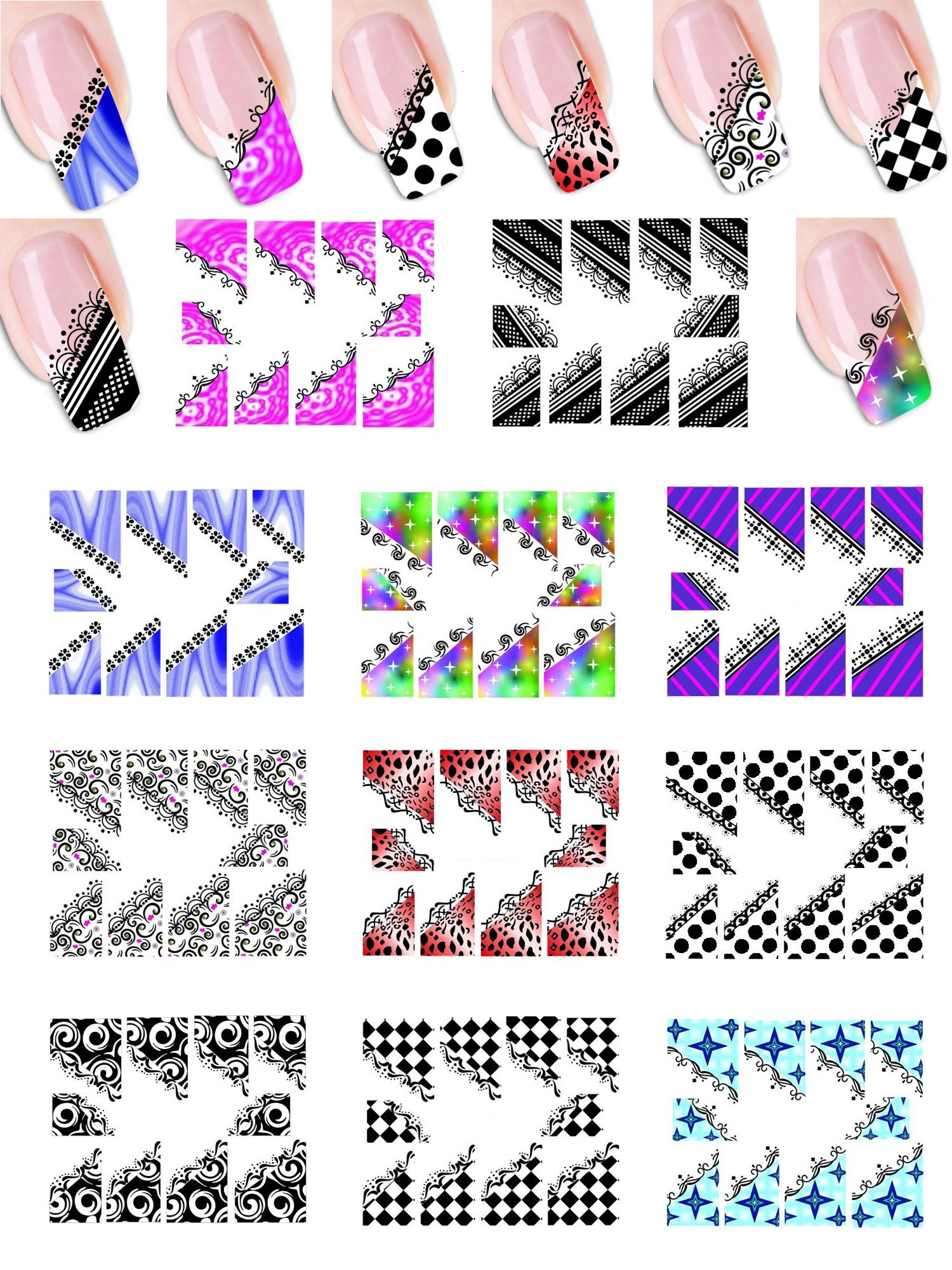 11 Styles Mixed Designed Colorful Leopard Lace Black White Checker Dots Circle Nail Art Polish Sticker Tattoo Decal Patch Wraps Tips for Women Girls Wife